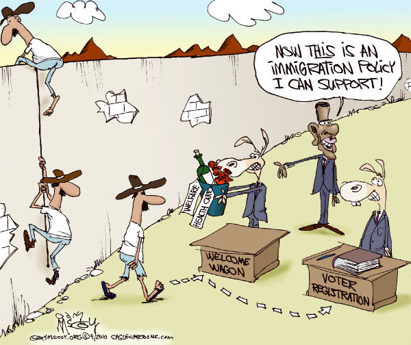 Image result for illegal Immigration cartoons