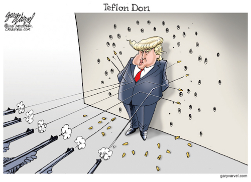 Donald Trump appears to be bullet-proof. Despite being challenged by Republicans, Democrats and the media, he continues to stay ahead in the polls.