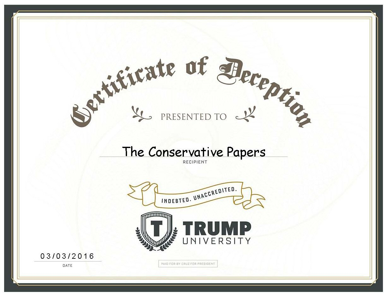 Trump University Certificate of Deception