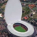 Stadium with retractable roof for DNC