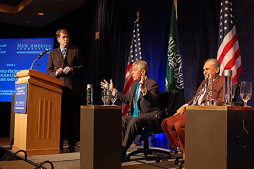 Chuck Hagel (center), advocating for closer U.S.-Saudi Arabia ties at a 2009 New America Foundation conference on U.S.-Saudi ties